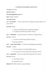 cooperative learning lesson plan template english teaching worksheets lesson plans