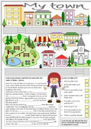 English Worksheets: My town