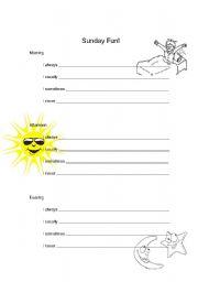 English Worksheets: Sunday Fun