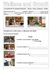 English Worksheets: WALLACE and GROMIT BE+ ING Worksheet N�1