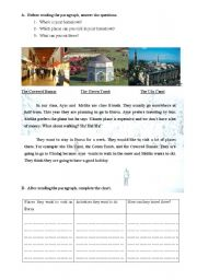 English Worksheets: reading-writing/parallel writing