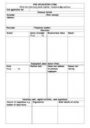English Worksheet: Job Application Form