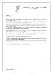 English Worksheet: �Skeleton in the closet� part 1: the first 5 pages of an amazing short story