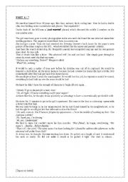 English Worksheet: �Skeleton in the closet� Part 2: the end of the short story + 7 pages of various activities