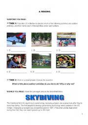 English Worksheets: Skydiving