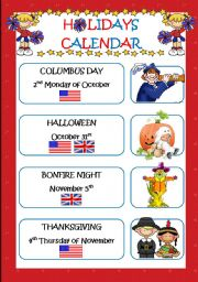 English Worksheet: HOLIDAYS CALENDAR (3 pages)