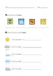 English Worksheet: seasons, weather and temperature