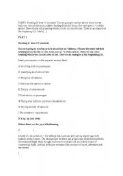 English Worksheets: Reading Comprehension- Advanced