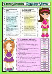 English Worksheet: Past Simple *REGULAR VERBS* (B&W included)