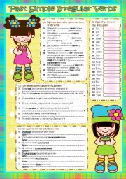 English Worksheet: Past Simple *IRREGULAR VERBS* (B&W included)