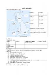 English Worksheet: UK - test on british culture, geography and basic info