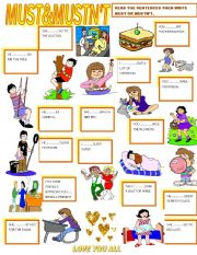 English Worksheet: MUST&MUSTN´T