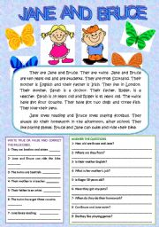 English Worksheets: JANE AND BRUCE (READING AND COMPREHENSION)