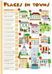 English Worksheet: Places in towns
