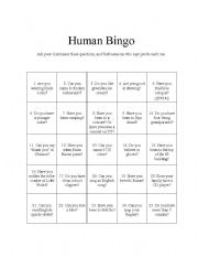 human bingo get everybody talking