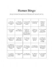 english worksheet human bingo get everybody talking