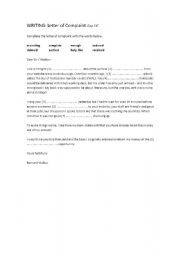 lesson plan for writing a letter of complaint