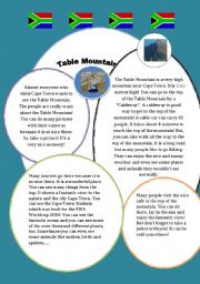 English Worksheet: Table Mountain in  Cape Town South Africa