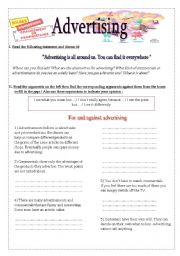 English Worksheet: Advertising - Speaking- Argument