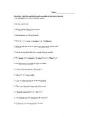 English Worksheets: Parts of Speech Worksheet