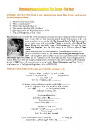 English Worksheet: Listening Comprehension: Tina Turner - The Best