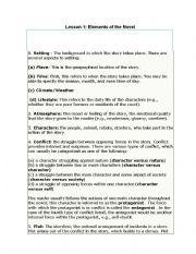English Worksheets: Elements of the Novel
