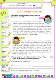 English Worksheet: My Summer Holidays  - Reading Comprehension