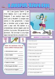 English Worksheets: LAURA TAYLOR (READING AND COMPREHENSION)