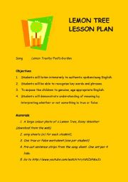 English Worksheet: Lemon Tree Song Listening Activity Lesson Plan