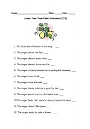 English Worksheet: Lemon Tree Listening Activity Worksheet