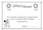 English Worksheets: Certificate of achievement