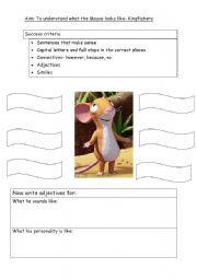 English Worksheet: Describe the mouse from the Gruffalo