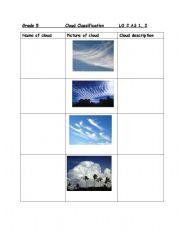 English worksheet: Clouds