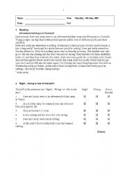English Worksheets: Class test reading comprehension