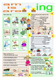 English Worksheet: am-is-are + ing