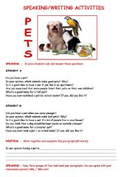 English Worksheets: SPEAKING and WRITING about PETS