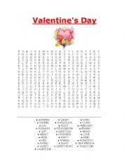 English Worksheet: valentines day word puzzle