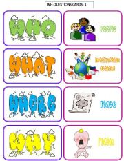 English Worksheets: WH-QUESTIONS-cards 1/3