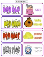 English Worksheets: WH-QUESTIONS-cards 2/3