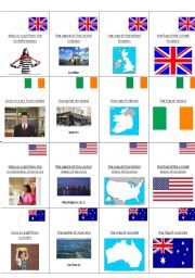 English speaking countries (game- happy families)