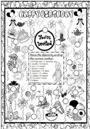 English Worksheet: Happy Birthday Pictionary