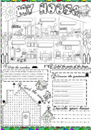 English Worksheet: My house