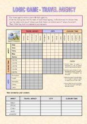 English Worksheet: Logic Game - Travel agency (Key included)