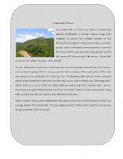English Worksheet: Wonder of the World 2 ( Great Wall of China)