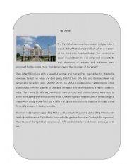 English Worksheet: Wonder of the World 3 ( Taj Mahal)