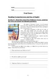 English Worksheets: Reading Comprehension and Use of English