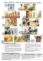English Worksheet: Invent LUCKY LUKE�s new story - comic strip and guided writing ** editable & answers**