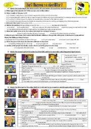 English Worksheet: THE SIMPSONS - season 7, episode 11 - Is Bart a shoplifter ? **editable & answers**