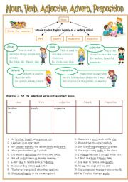 English Worksheet: Re-uploaded Worksheet (Noun/Verb/Adjective/Adverb/Preposition + Key included)