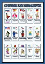 English Worksheet: countries and nationalities (1/3)
